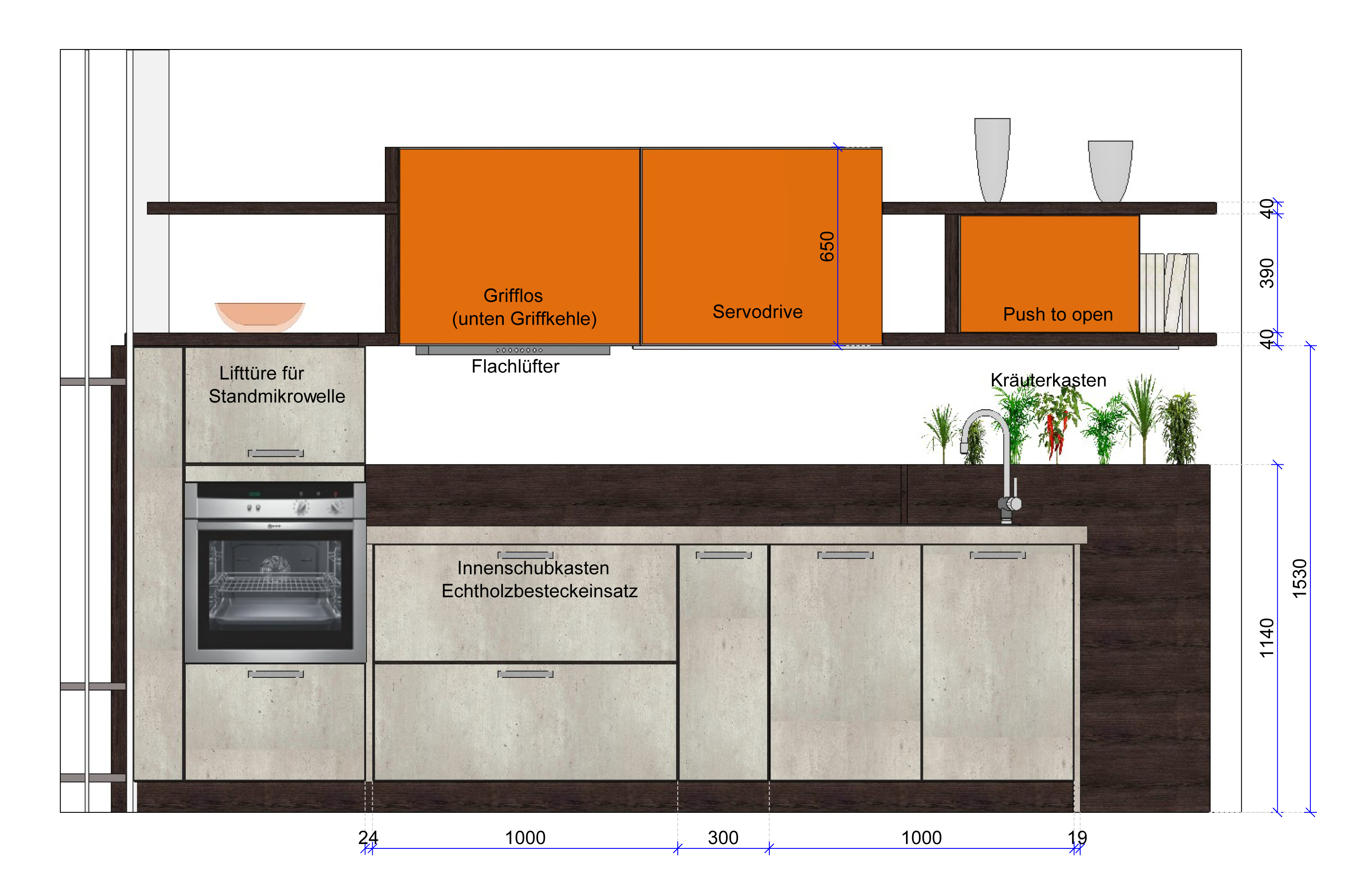 modern geplante k chenzeile 2 zeilig mit vielen pfiffigen. Black Bedroom Furniture Sets. Home Design Ideas